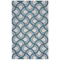 Arden Loft Easley Meadow Ivory/ Blue Geometric Abstract Hand-tufted Wool Area Rug - 9' x 12'