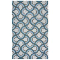 Arden Loft Easley Meadow Ivory/ Blue Geometric Hand-tufted Wool Area Rug - 10' x 14'