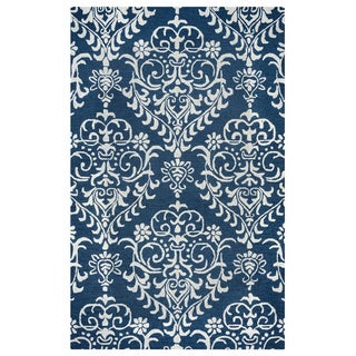 Arden Loft Falmouth Fields Indigo/ Beige Floral Hand-tufted Wool Area Rug (5' x 8')