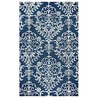 Arden Loft Falmouth Fields Indigo/ Beige Floral Hand-tufted Wool Area Rug (2'6' x 8')