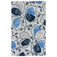 Arden Loft Lewis Manor Natural/ Indigo Floral Hand-tufted Wool Area Rug (5' x 8') - 5'x 8'