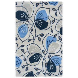 Arden Loft Lewis Manor Natural/ Indigo Floral Hand-tufted Wool Area Rug (2'6' x 10')
