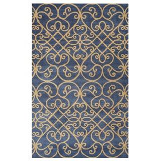 Arden Loft Lewis Manor Charcoal Grey/ Gold Ornamental Hand-tufted Wool Area Rug (9' x 12')