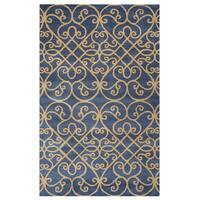 Arden Loft Lewis Manor Charcoal Grey/ Gold Ornamental Hand-tufted Wool Area Rug (10' x 14') - 10' x 14'