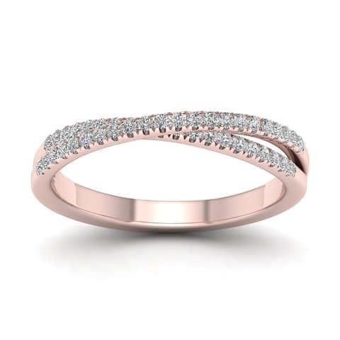 De Couer IGI Certified 10k Gold 1/4ct TDW Diamond Cross-Over Ring