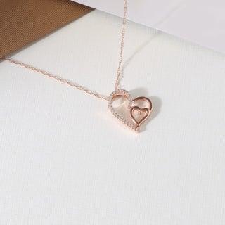 De Couer 10k Rose Gold 1/10ct TDW Diamond Heart Necklace (H-I, I2)