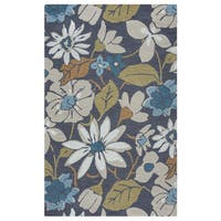 Arden Loft River Hill Grey/ Natural Floral Hand-tufted Wool Area Rug (5' x 8') - 5' x 8'