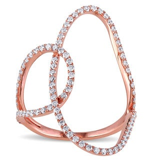 Miadora 18k Rose Gold 3/5ct TDW Diamond Open Space Geometric Ring (G-H, SI1-SI2)
