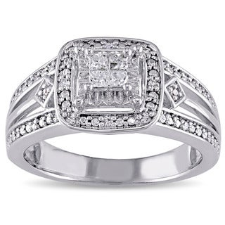 Miadora Sterling Silver 1/5ct TDW Diamond Halo Ring