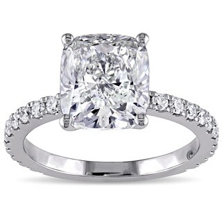 Miadora Signature Collection 19k White Gold 4ct TDW Certified Diamond Ring (GIA) - White I-J (5 options available)
