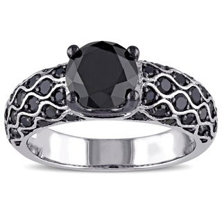 Miadora 10k White Gold 2 5/8ct TDW Black Diamond Ring