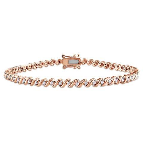 Miadora Sterling Silver 1/2ct TDW Diamond 'S' Style Tennis Bracelet (J-K, I2-I3)