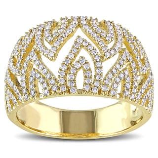 Miadora Signature Collection 14k Yellow Gold 5/8ct TDW Diamond Cocktail Ring