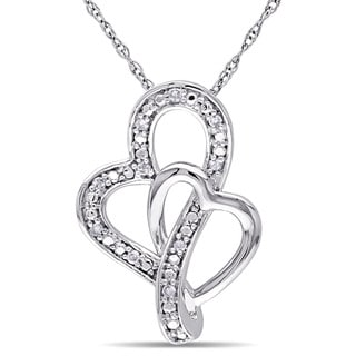 Miadora 10k White Gold Diamond Accent Double Heart Necklace