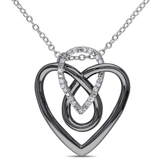 Miadora Sterling Silver 1/10ct TDW Diamond Heart Necklace