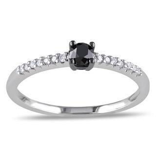 Miadora 10k White Gold 1/4ct Black and White Diamond Ring