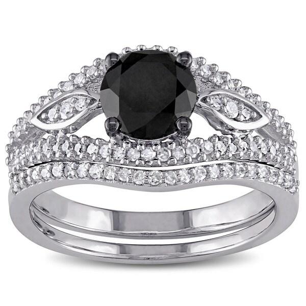 Miadora 10k White Gold 1 1/3ct TDW Black and White Diamond Bridal Ring Set