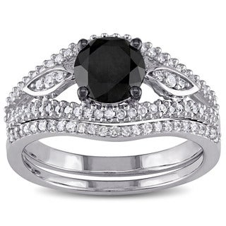Miadora 10k White Gold 1 1/3ct TDW Black and White Diamond Bridal Ring Set