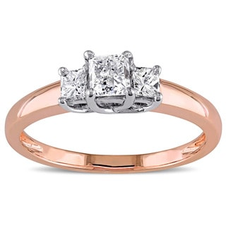Miadora Signature Collection 14k Rose Gold 1ct TDW Diamond Three Stone Ring (G-H, I1-I2)