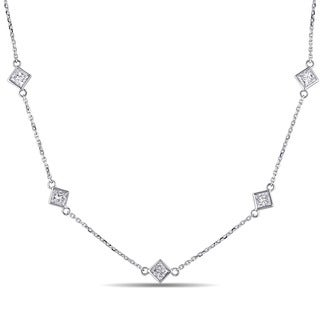 Miadora 14k White Gold 1 1/4ct TDW Princess-cut Diamond Station Necklace (G-H, SI1-SI2)