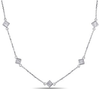 Miadora 14k White Gold 1 1/4ct TDW Princess-cut Diamond Station Necklace