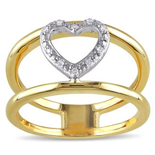 Miadora Yellow Plated Sterling Silver Diamond Accent Double Band Heart Ring