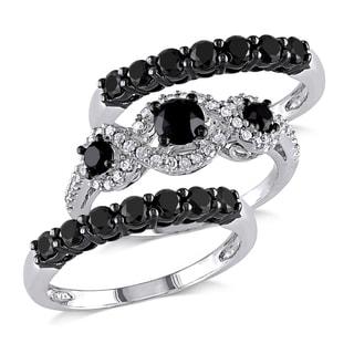 Miadora Signature Collection 10k White Gold 2ct TDW Black and White Diamond 3-piece Bridal Ring Set(G-H,I2-I3)