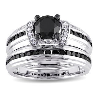 Miadora 1 5/8ct TDW Black and White Diamond Bridal Set in 10k Polished White Gold with Black Rhodium (G-H,I2-I3)