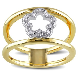 Miadora Yellow Plated Sterling Silver Diamond Accent Double Band Flower Ring