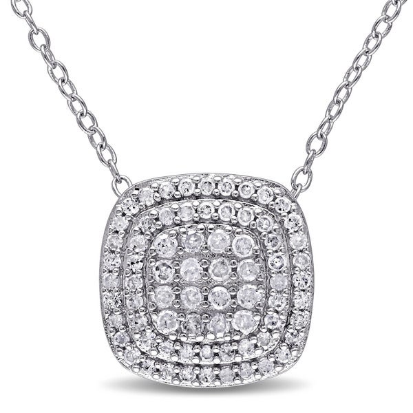 Sterling silver 12ct tdw diamond multi row square pendant sterling silver 12ct tdw diamond multi row square pendant necklace aloadofball Image collections