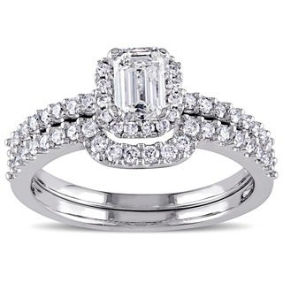 Miadora Signature Collection 14k White Gold 1ct TDW Diamond Emerald Cut Bridal Ring Set (G-H, I1-I2)