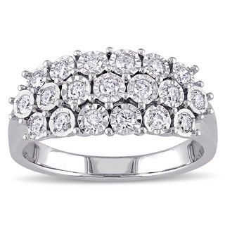 Sterling Silver 1/2ct TDW Diamond 3-Row Anniversary Ring by Miadora
