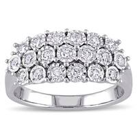 Miadora Sterling Silver 1/2ct TDW Diamond Multi-row Anniversary Ring