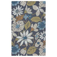 Arden Loft River Hill Grey/ Natural Floral Hand-tufted Wool Area Rug (8' x 10') - 8' x 10'