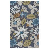 Arden Loft River Hill Grey/ Natural Floral Hand-tufted Wool Area Rug - 9' x 12'