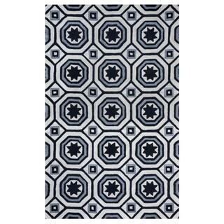 Arden Loft Lisbon Corner Ivory/ Black Geometric Hand-tufted Wool Area Rug (5' x 8')