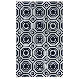 Arden Loft Lisbon Corner Ivory/ Black Geometric Hand-tufted Wool Area Rug (8' x 10')