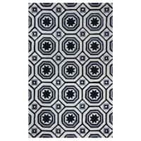 Arden Loft Lisbon Corner Ivory/ Black Geometric Hand-tufted Wool Area Rug (8' x 10') - 8' x 10'