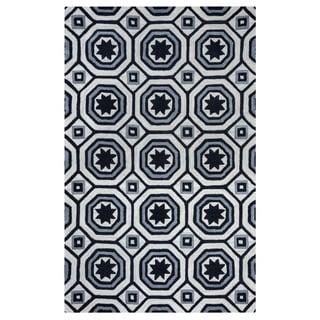 Arden Loft Lisbon Corner Ivory/ Black Geometric Hand-tufted Wool Area Rug (10' x 14')