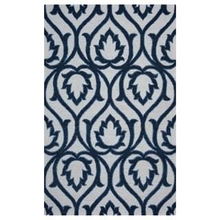 Arden Loft Lisbon Corner Ivory/ Blue Geometric Hand-tufted Wool Rectangular Area Rug (5' x 8')