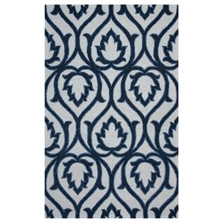 Arden Loft Lisbon Corner Ivory/ Blue Geometric Hand-tufted Wool Rectangular Area Rug (9' x 12')