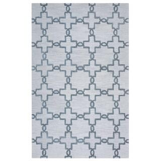 Arden Loft Lisbon Corner Beige/ Light Grey Geometric Hand-tufted Wool Area Rug (10' x 14')