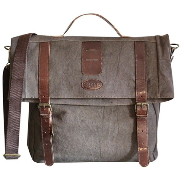 Taupe Canvas and Leather Messenger Book Bag