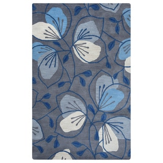 Arden Loft Lewis Manor Grey/ Natural Floral Hand-tufted Wool Area Rug (8' x 10')