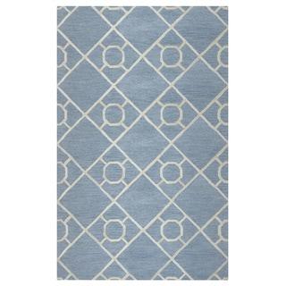 Arden Loft Lisbon Corner Grey/ Natural Geometric Hand-tufted Wool Area Rug (2'6' x 8')