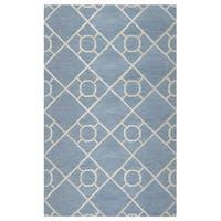 Arden Loft Lisbon Corner Grey/ Ivory Geometric Hand-tufted Wool Area Rug - 2'6 x 10'