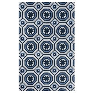 Arden Loft Lisbon Corner Ivory/ Blue Hand-tufted Casual Wool Area Rug (2'6' x 8')