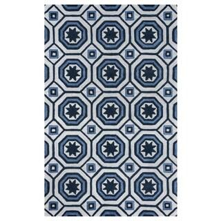 Arden Loft Lisbon Corner Ivory/ Blue Hand-tufted Casual Wool Area Rug (2'6' x 10')
