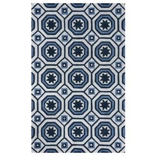 Arden Loft Lisbon Corner Ivory/ Blue Geometric Hand-tufted Wool Area Rug (5' x 8')