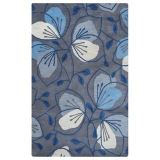 Arden Loft Lewis Manor Dark Grey/ Natural Floral Hand-tufted Wool Area Rug (2'6' x 10')